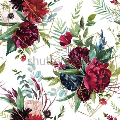 Fototapeta Akvarel bezproblémové vzorek. Květinové geometrické ilustrace - burgundy květiny kytice se zlatými geometrických tvarů na bílém pozadí. Svatební stacionární, pozdravy, tapety, móda, pozadí.