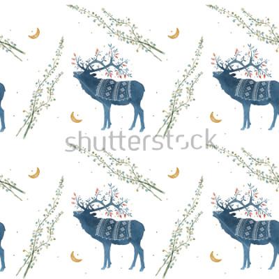 Fototapeta Akvarel bezproblémový vzorek se skandinávskými větvemi, listy trávy.