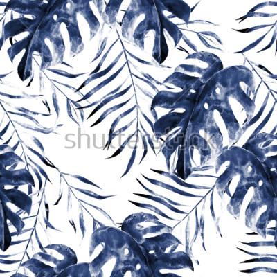 Fototapeta Akvarel exotické bezešvé vzor, zelené tropické listy, botanické letní ilustrace na bílém pozadí