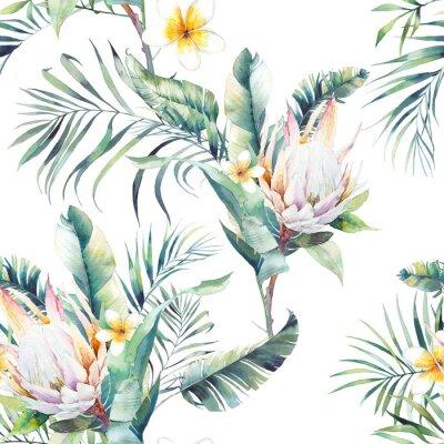 Fototapeta Akvarel exotický bezešvé vzor. Opakující se struktura rostlin, tropická kytice: větve palmy, protea, listy banánů, květy frangipani. Letní design tapety
