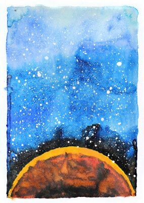 Fototapeta Akvarel galaxie ilustrační. Planeta Mars.