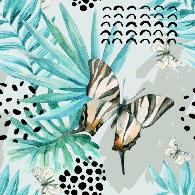 Fototapeta Akvarel grafické ilustrace: exotický motýl, tropické listy, doodle prvky na grunge pozadí.