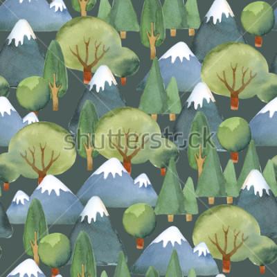 Fototapeta Akvarel ilustrace. Bezešvé vzor ploché sady stromů a modré hory na tmavém pozadí