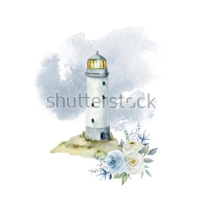 Fototapeta Akvarel ilustrace s majákem, mraky a kytice květin