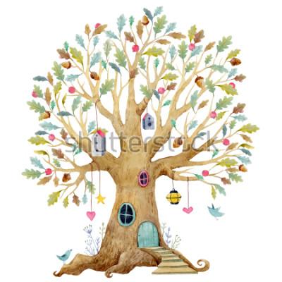Fototapeta Akvarel ilustrace stromu stromů, rodokmen, genealogický proud. roztomilý pohádkový proud, ilustrace dětí
