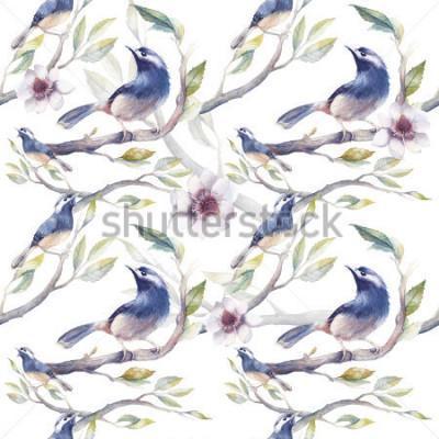 Fototapeta Akvarel jarní bezešvé vzor s ptáky, větrný strom, květiny a listy. Ručně malované botanické tapety šablony s modrými ptáky na bílém pozadí. Vintage přírodní textury