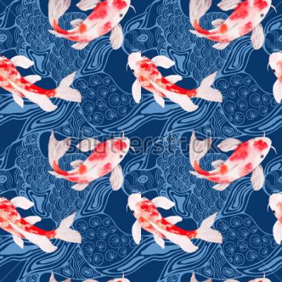 Fototapeta Akvarel koi ryby bezešvé vzor textura s vlnami na pozadí