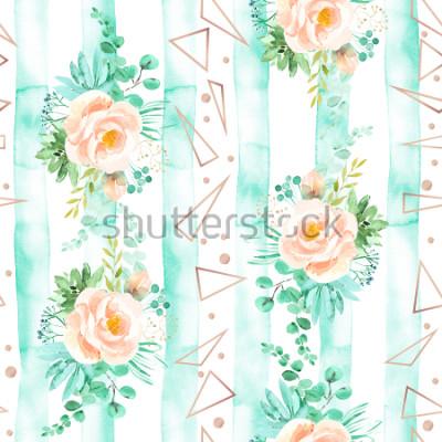 Fototapeta Akvarel květinové bezešvé vzor v měkké růžové barvě máty. Geometrické pozadí s květinovými kyticemi. Růže, sukulenty, eukalyptus, růžové zlato, ilustrace