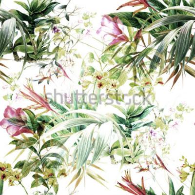 Fototapeta Akvarel malba listů a květin, bezešvé vzor na bílém pozadí
