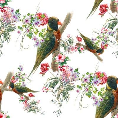 Fototapeta Akvarel malba s ptáky a květiny, bezešvé vzor na bílém pozadí