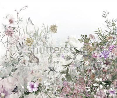 Fototapeta akvarel malování listů a květiny, na bílém pozadí