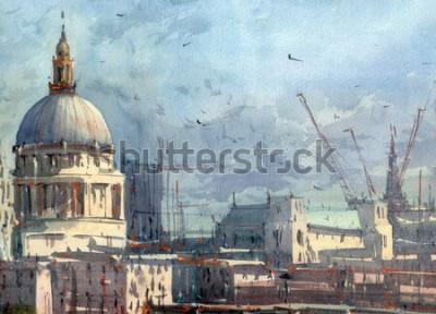 Fototapeta akvarel město pohled ilustrace