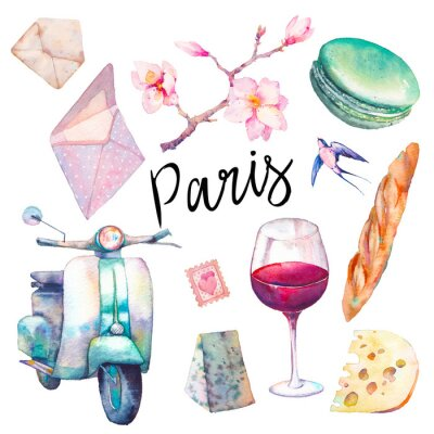 Fototapeta Akvarel Paris set. Ručně tažené prvky francouzské kultury izolovaných na bílém pozadí: vinobraní scooter, makaron, sýr, červené víno sklo, magnólie brach, bageta.