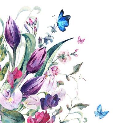 Fototapeta Akvarel Přání se sladkým hráškem, tulipány