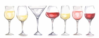 Fototapeta Akvarel sklenky na víno set. Krásné sklo pro dekoraci nabídce v restauraci či kavárně. Alkoholický nápoj.