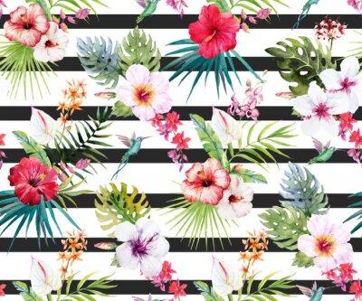Fototapeta Akvarel tropický květinový vzor