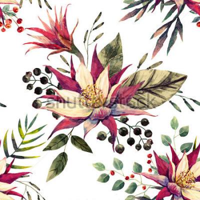 Fototapeta akvarel tropický vzorek, kaktus květ, černé a bílé plody, palmové listy, retro barvy