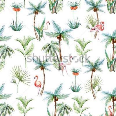 Fototapeta akvarel tropický vzorek, palmy a pléňáci bílé pozadí