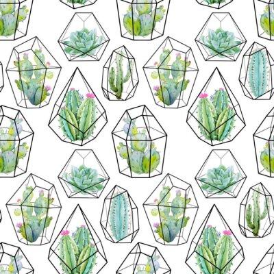 Fototapeta Akvarel vektor kaktusu vzor