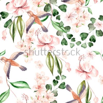 Fototapeta Akvarel vzorek s jarní květy, listy eukalyptu a ptáků. Ilustrace