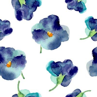 Fototapeta Akvarel z fialové květy bezproblémové vzorek.