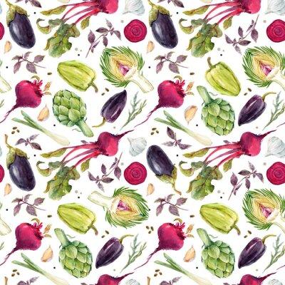 Fototapeta Akvarelové zeleninové vzory