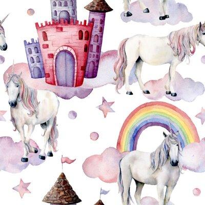 Fototapeta Akvarelový pohádkový vzor s jednorožci. Ručně malované magické koně, hrad, duha, mraky, hvězdy izolovaných na bílém pozadí. Roztomilý tapeta pro design, tisk nebo pozadí.