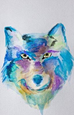 Fototapeta Akvarelu Vlk na bílém pozadí alba. Mokrá metoda. Modré fialové odstíny. Moderní umění. Volný čas.