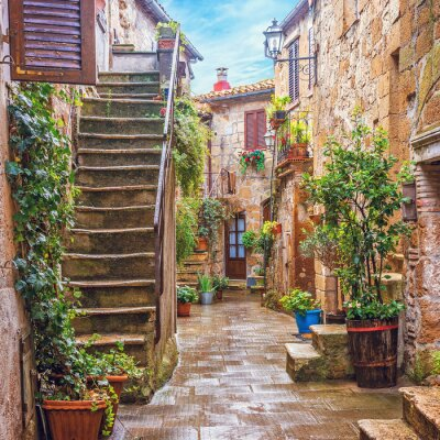 Fototapeta Alley v italském staré město, Toskánsko, Itálie