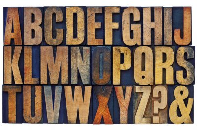 Fototapeta alphabet in letterpress wood type blocks