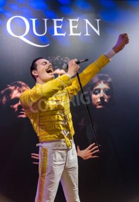 Fototapeta AMSTERDAM, NIZOZEMSKO - 25. dubna 2017: Vosková socha Freddie Mercury v muzeu Madame Tussauds 25. dubna 2017 v Amsterdamu v Nizozemí.