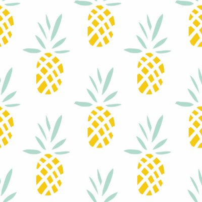 Fototapeta Ananas na bílém pozadí. Vektorové bezproblémové vzorek s tropickým ovocem.