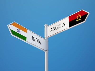 Angola Indie Registrujte Vlajky Concept