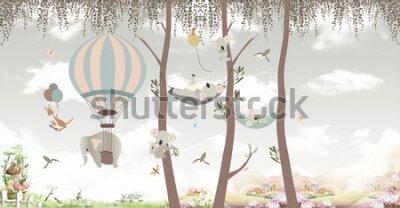 Fototapeta animals on trees in the jungle