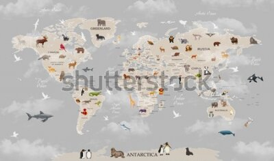 Fototapeta Animals world map for kids wallpaper design