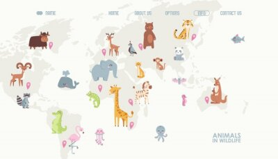 Fototapeta Animals world map vector illustration. Landing page for children online educational platform. Cute cartoon animals in wildlife. Geography concept for kids. Fauna of different continents.