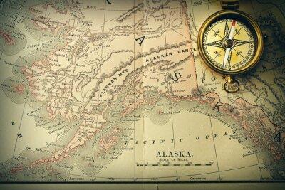 Fototapeta Antique compass over old XIX century map
