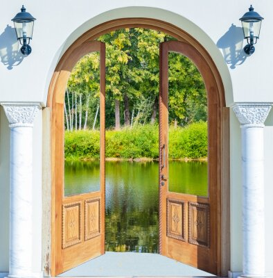 Fototapeta Arch dveře otevřené rybník