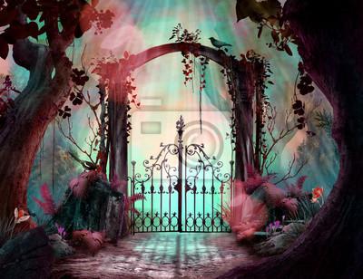 Fototapeta Archway in an enchanted fairy garden Landscape