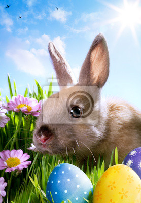 art easter dítě králík a velikonoční vejce