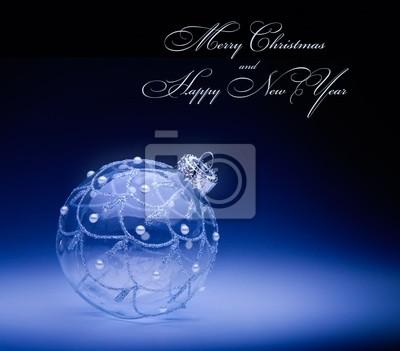 art Vánoční karta s vánoční výzdobou na tmavě modrém backgr