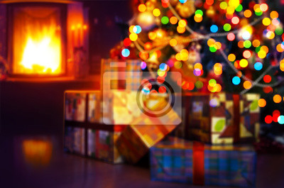 art Vánoční scéna se stromem dárky a oheň v pozadí