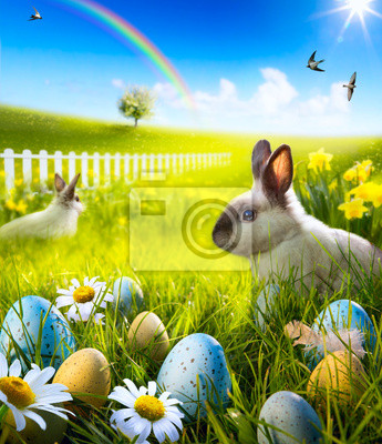 Art Velikonoční králíček a velikonoční vejce na louce.