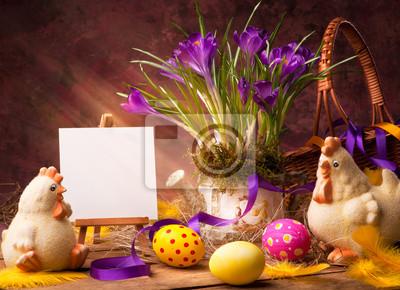 art Velikonoční pozadí s květinami a velikonočními vajíčky