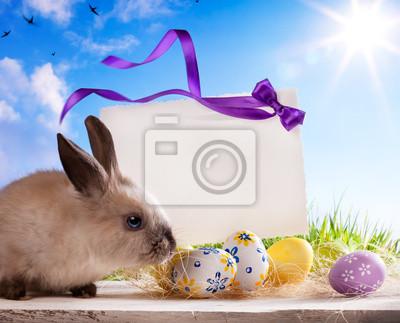 art Velikonoční přání s velikonoční zajíček a velikonoční vajíčka