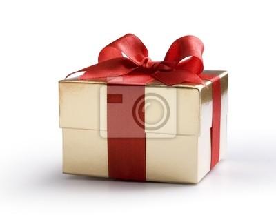 Art zlatá krabička s červenou mašlí