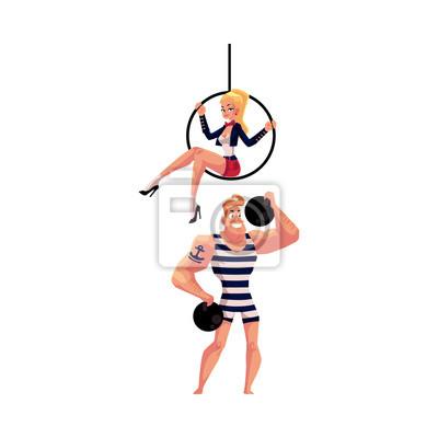 Artiste Silak Silny Muz A Akrobat Gymnastka Sedi Na Leteckem