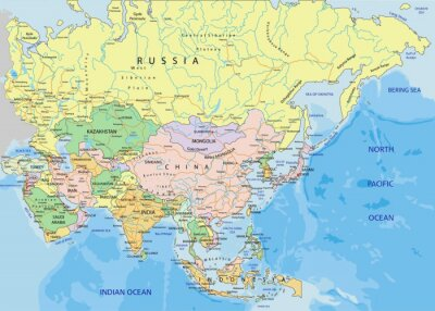 Fototapeta Asie - velmi podrobné upravitelné politická mapa.