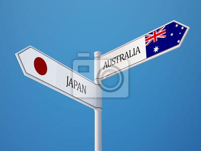 Austrálie Japonsko Znamení Vlajky Concept