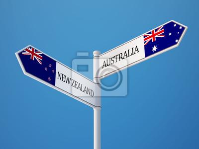 Austrálie Nový Zéland Registrujte Vlajky Concept